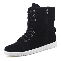 冬季雪地靴保暖加棉高帮套筒男靴子韩版红色个性皮靴男士休闲棉鞋