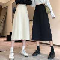 高腰半身裙女秋季2020新款中�L款遮胯�@瘦裙子秋冬黑色�闳�A字裙