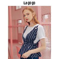 Lagogo/拉谷谷2018夏季新款前身气眼装饰上衣两件套HASS824H12