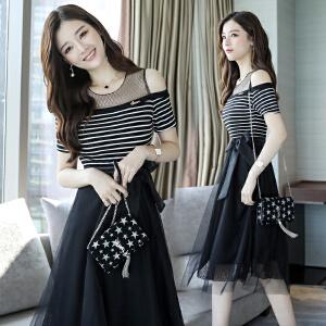 2018夏季新款小心机冷淡风连衣裙收腰显瘦减龄a字款裙子气质淑女