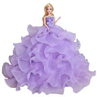 芭芘娃娃婚纱3D真眼六一儿童节生日礼物玩具闺蜜新娘白雪公主女孩 高度45CM