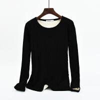 加绒打底衫女长袖2018冬季新款圆领加厚T恤棉秋衣修身保暖上衣