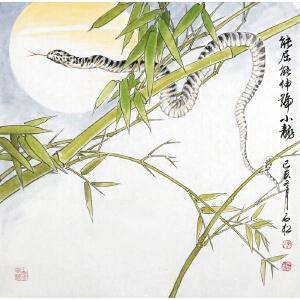 省美协会员 陈shi 松 【能  qu 能伸号小龙 】67*67cm.带合影。软片。全品。