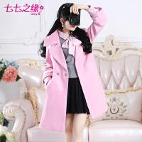 冬装新款 粉绣线腰带夹棉加厚女装长袖毛呢大衣外套