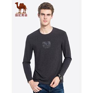 【12.12狂欢节】骆驼男装 2018秋季新款印花长袖t恤青年男士纯色圆领打底衫上衣服
