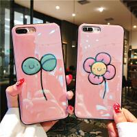 可爱少女花朵苹果7plus手机壳闪粉滴胶iPhonex/6s硅胶软壳新女款8 iPhone X 粉底小花