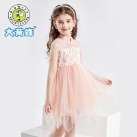 大黄蜂童装女童连衣裙2021夏季新款儿童短袖裙子洋气小女孩公主裙