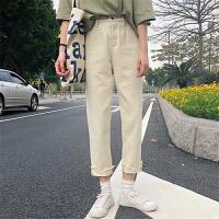 原宿风牛仔裤女韩国ulzzang百搭2018流行女装新款九分裤阔脚裤