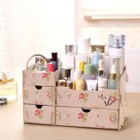 大号木质木制桌面整理收纳盒抽屉 带镜子化妆品梳妆盒收纳箱