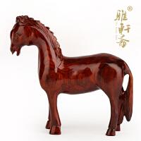 实木质十二生肖马风水摆件木马木雕刻红木工艺品马到成功