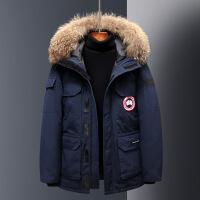 加拿大风冬季韩版情侣工装迷彩羽绒服男女士中长款加厚大码鹅毛领