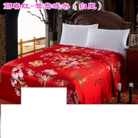 婚庆杭州丝绸织锦缎软缎结婚被套 绸锻龙凤百子被面大红缎子被罩 红色 丽红-鸳鸯戏水