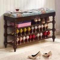 美式实木三层换鞋凳鞋柜欧式可坐收纳凳白色布艺易清洁经济型鞋架