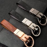 简约时尚挂腰汽车钥匙扣男女创意个性礼品汽车钥匙扣链挂件真皮男女朋友礼物品创意个性汽车通用高配 默认