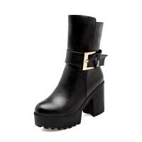 2018秋冬季新款厚底高跟中靴骑士短靴女靴子女鞋中筒靴粗跟防水台真皮