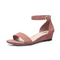 camel 骆驼女鞋 夏季新款 一字扣带坡跟凉鞋简约舒适韩版中跟鞋凉鞋