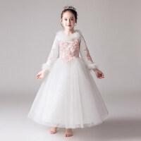 女童白色长袖礼服公主裙花童婚纱蓬蓬纱儿童钢琴演出服加绒加厚冬 白色