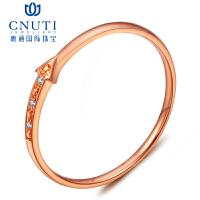CNUTI粤通国际珠宝 18K玫瑰金戒指钻石戒指 尾戒 简约大方钻戒