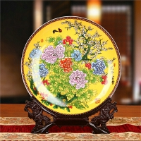 景德镇陶瓷器 彩黄牡丹花坐盘子 花盘 挂盘 现代中式装饰摆件