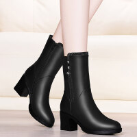 皮鞋女中筒靴子女加绒中筒靴女粗跟2018新款冬季高跟鞋女士皮鞋中跟短靴女鞋lkf