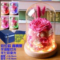 送爱人永生花礼盒玻璃罩DIY玫瑰花干花摆件七夕情人节生日礼物