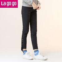 Lagogo2019冬季新款直筒铅笔裤纯色牛仔裤时尚高腰长裤女黑色裤子