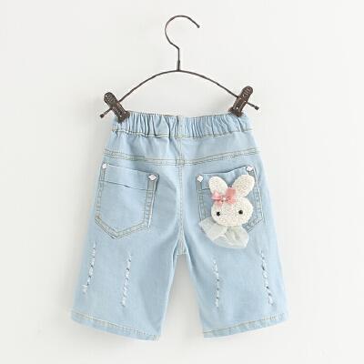 女童牛仔裤春夏季新款童装潮儿童五分裤子宝宝休闲蝴蝶结中裤 发货周期:一般在付款后2-90天左右发货,具体发货时间请以与客服协商的时间为准