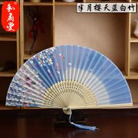 3把送1把日式折扇中国风女式绢扇子樱花礼品古风跳舞蹈小扇