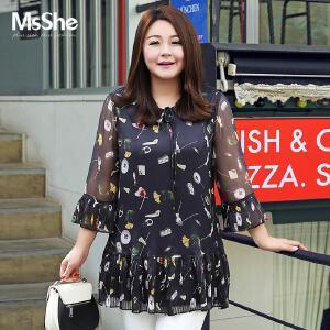 MsShe大码女装2017新款夏装微胖MM中长款微胖妹妹雪纺衫M1710185