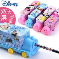 迪士尼公主笔盒小学生幼儿园儿童1-3年级简约创意可爱铁盒双层多功能女童文具盒大容量铁皮汽车铅笔盒