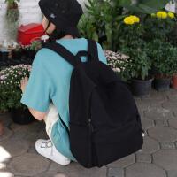 花曦家 百搭纯黑色书包女简约森系大学生韩版ins帆布背包女双肩包