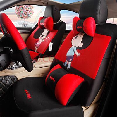 亚麻卡通汽车坐垫四季通用夏季单片无背靠车用座垫动漫可爱免捆绑 TL-201 黑红