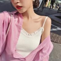 2018夏装新款女士上衣 韩版纯色修身百搭针织吊带背心女夏内搭 均码