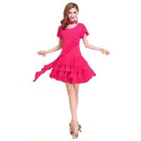 广场舞服装套装裙 跳舞蹈服装 女拉丁舞练习服装连衣裙 短袖 中袖
