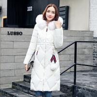 冬季新款羽绒女中长款韩版加厚棉衣女大毛领棉袄外套 M 80-100斤