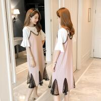 防辐射孕妇装银纤维衣服肚兜夏季短袖连衣裙中长款怀孕期夏装