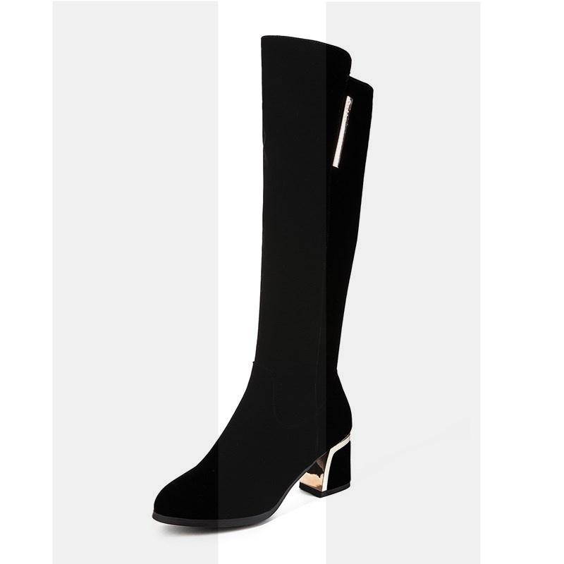 秋冬靴子女长靴粗跟高跟鞋瘦腿百搭高筒靴加绒中长筒靴大码40-43SN9964