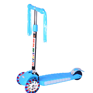 【当当自营】炫梦奇儿童滑板车 四轮闪光 可折叠滑行车 音乐闪光踏板 可调高低 209蓝色