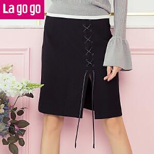 【618大促-每满100减50】Lagogo/拉谷谷2017年秋新款系带抽绳纯色开衩半身裙