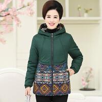 中老年女装棉衣40-50岁妈妈装冬装外套中年女士加厚连帽大码 XL 建议110斤以下