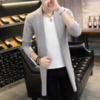 春秋季中长款风衣男青年韩版修身针织外套薄款英伦披风潮夏季风衣