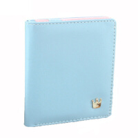 韩版两折短款钱包简约薄撞色钱夹女士可爱卡包 粉蓝