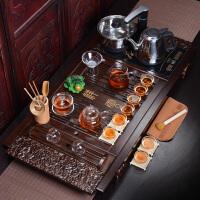 紫砂功夫茶具套装整套家用陶瓷茶壶茶杯电热磁炉茶台茶道实木茶盘 28件