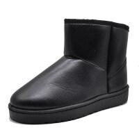 冬季新款保暖防水防滑皮面短筒雪地靴女加厚加绒平底情侣短靴