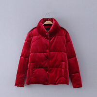 409 女装 冬季新款立领纯色排扣长袖女式棉衣