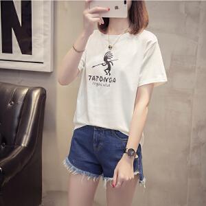 2018新款夏装宽松白色短袖t恤女韩版显瘦体恤学生夏季半袖上衣服