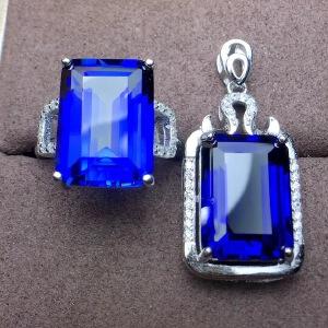大主石蓝宝石套装,鸽子蛋款,皇家蓝,高净度