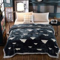 双层加厚毛毯双人保暖盖毯学生宿舍单人绒毯子冬季毛毯被子 180cmX220cm