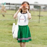茵曼童装夏季新款中大童女童两件套短袖印花恤休闲裙套装【3882251112】