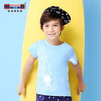 【3件2折价:27.8】铅笔俱乐部童装2019夏季新款男童短袖T恤中大童短袖儿童蓝色上衣